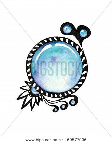 Watercolor blue gems on white background. Zentangle with gems. Hand drawn illustration