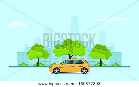 picture of taxi car in front of city silhouette taxi service concept banner flat style illustration