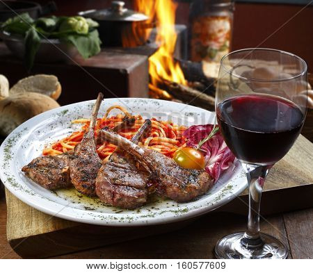 Rib of lamb with red wine