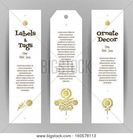 Vector Set Of Golden Ethnic Labels.