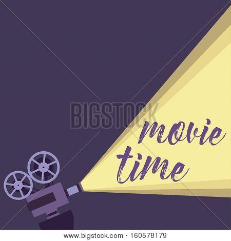 Movie projector background cinema illustration. Movie projector vintage poster. Colorful movie projector background for your design.