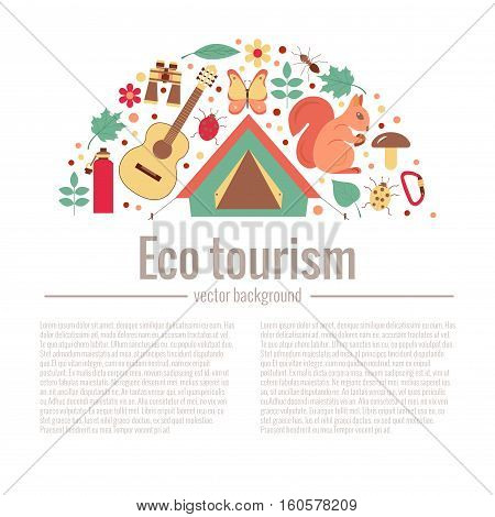 Ecotourism camping poster template with flat cartoon design elements. Tent backpack binocular guitar camping lantern map compass squirrel hedgehog, bird, forest. Vector illustration of outdoor icons
