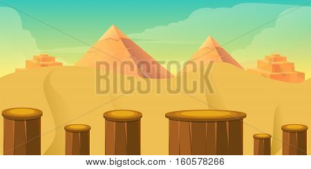 Arcade Game World. Cartoon Desert with Blocks, illustration for your design