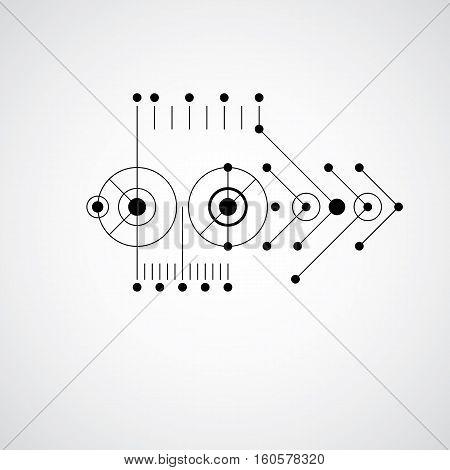Bauhaus Retro Wallpaper, Art Vector Monochrome Background Made Using Grid And Circles. Geometric Gra