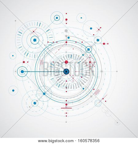 Mechanical scheme blue vector engineering drawing with circles and geometric parts of mechanism. Technical plan can be used in web design