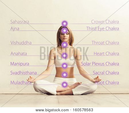Healthy woman meditating in lotus position. Colored lights with chakra names over her body. Yoga, zen, Buddhism, recovery and wellbeing concept.