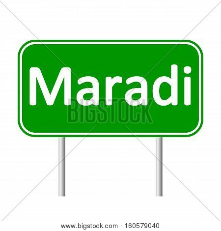 Maradi road sign isolated on white background.