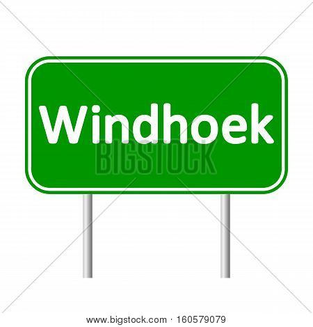 Windhoek road sign isolated on white background.