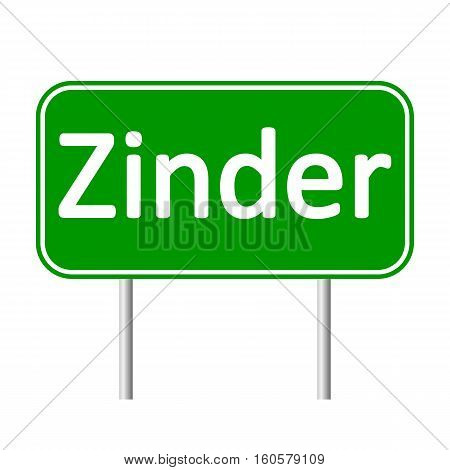 Zinder road sign isolated on white background.