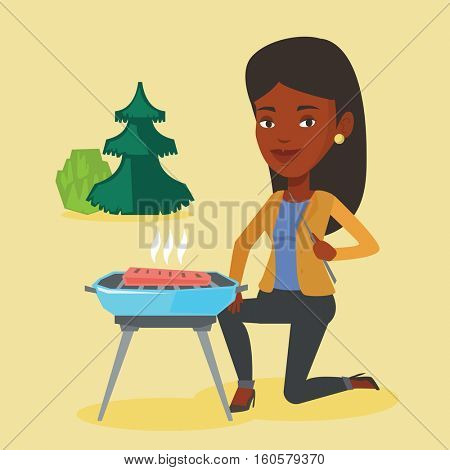 Woman sitting next to barbecue grill in the park. An african-american woman cooking steak on barbecue grill outdoors. Woman having a barbecue party. Vector flat design illustration. Square layout.