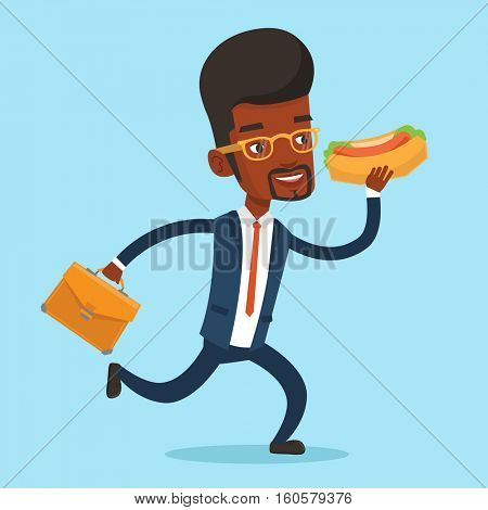 An african-american businessman in a hurry eating hot dog. Businessman with briefcase eating on the run. Young businessman running and eating hot dog. Vector flat design illustration. Square layout.