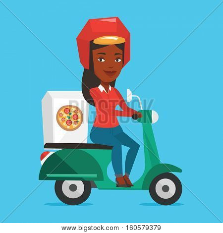 Woman delivering pizza on scooter. Courier driving a motorbike and delivering pizza. Worker of delivery service of pizza. Concept of food delivery. Vector flat design illustration. Square layout.