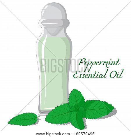 Small bottle with essential oil of peppermint