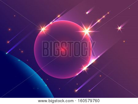 Abstract space background falling meteorites and planet. Vector illustration