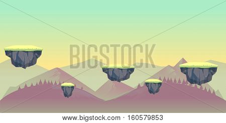 seamless nature landscape for game, Vector illustration with separate layers