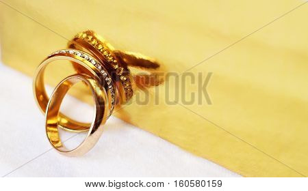 Wedding rings and reflection, love and happy