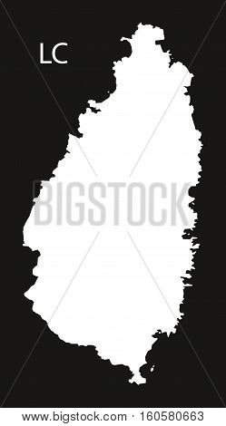 Saint Lucia Map black illustration country silhouette concept