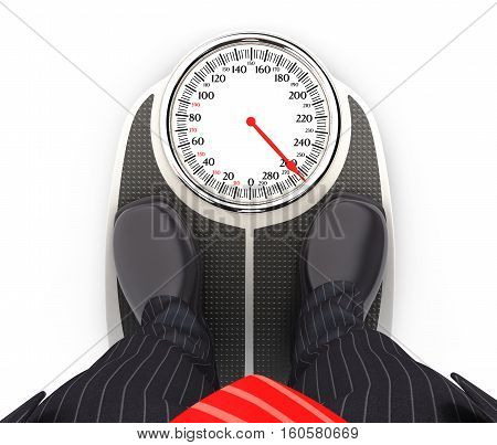 3d businessman on bathroom scales illustration with isolated white background