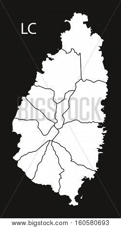 Saint Lucia districts Map black illustration country silhouette concept
