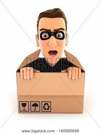 3d thief hiding inside a cardboard box illustration with isolated white background