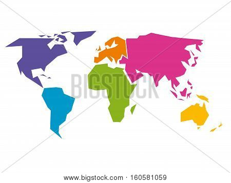 Simplified world map divided to six continents - South America, North America, Africa, Europe, Asia and Australia - in different colors. Simple flat vector illustration.