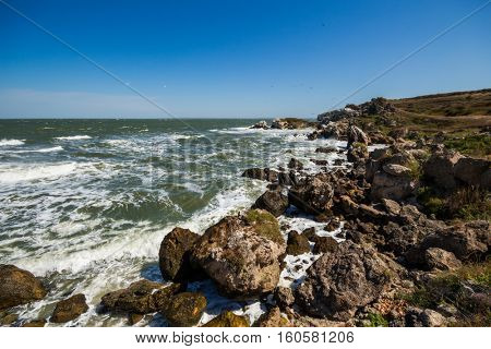 Waterside of sea, blue sky, birds and rocks at summer sunny day