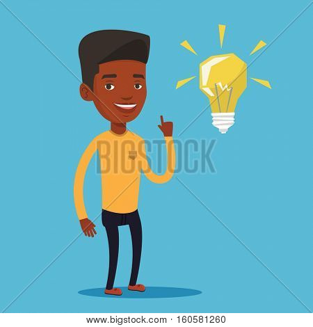An african-american student pointing her finger up at the idea bulb. Young excited male student with bright idea bulb. Student having a great idea. Vector flat design illustration. Square layout.