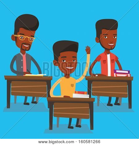 African-american student raising hand in the classroom for an answer. Student sitting at the desk with raised hand. Schoolboy raising his hand at lesson. Vector flat design illustration. Square layout