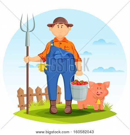 Farmer man on farming field with pig and pitchfork. Pork and farmer with bucket of tomatoes and fence behind, agriculture farmland or rural man. For agrarian or farmer, agriculture or gardener theme
