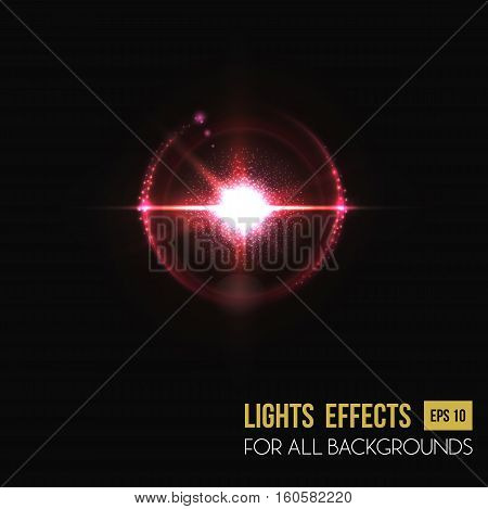 Bright sunlight lens glass light effect. Background of sun burst or sunlight through round lens, backdrop of glowing sun light effect. For flare or burst, sunbeam poster or light effect background