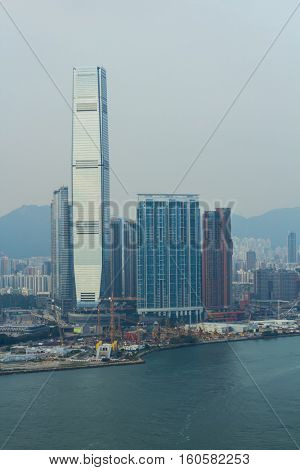 International Commerce Centre, modern highway, port on sea shore in Hong Kong, China, view from China Merchants Tower