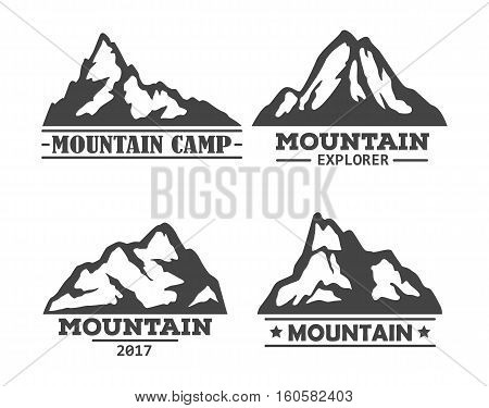 Hill or mountain, rock silhouette icons set. Peak landscape logo or mountain symbol, high rock or hills set of icons. Can be used for tourism or geology, climbing and holiday camp, extreme mountain sport logo