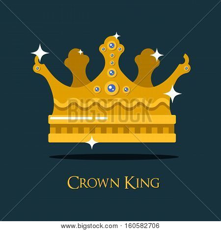 Crest or king, queen golden crown. Emperor or imperial coronet, antique prince or queen, king or monarch tiara or crown, heraldic diadem design. For game award or medieval crown, gold headdress