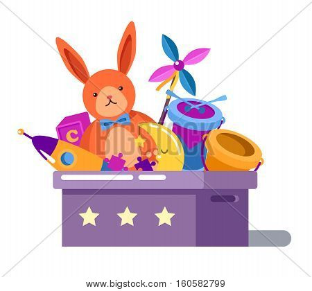 Toy box or chest with rabbit doll and child rocket, cube and puzzle, drum and moon, bucket in children toy box with stars. Can be used for childhood or cartoon toys collection in box theme