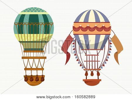Air balloon with hot air for traveling transport. Fly of old striped air balloon with basket for recreation or sport, travel or tourism, journey or trip.
