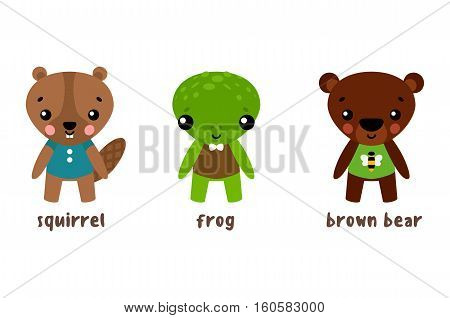 Cartoon animal character set. Frog and bear, squirrel or bun, toad and chipmunk, european marmots. Cartoon wildlife smiling isolated characters in clothes. For zoology or biology, animal illustration