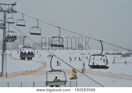 Skiers on a cable car in Bukovel. Bukovel is the most popular ski resort in Ukraine