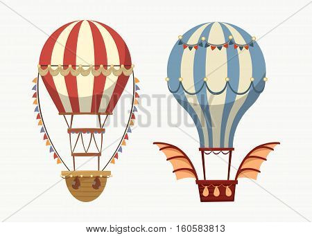Transport air balloon with balance and lights, wings. Flying airship or old, vintage or retro air balloon outdoor view, cartoon striped air transport.