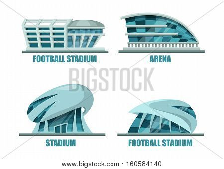 Soccer field or football stadium modern architecture. Facade exterior view on soccer or football building for competition events, stadium for athletic activity. For sport club or soccer logo