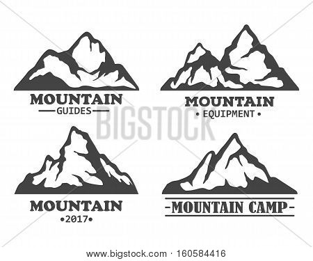 Exploration mountains with rocky peaks. Winter hills silhouette for tourism expedition travel, mountain isolated icons. For journey or travel agency, exploration hiker club, mountain climbing logo