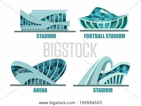 Exterior view on soccer or football stadium. Set of isolated facade of building for athletic competitions and sport events, sport architecture. For soccer or football team logo or banner