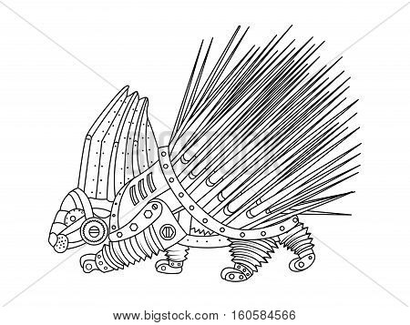 Steampunk style porcupine. Mechanical animal. Coloring book for adult vector illustration.