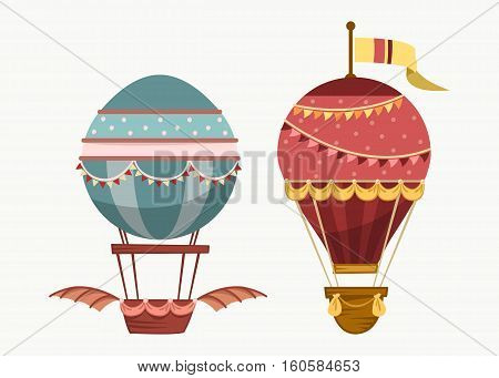 Balloon air travel flying transport. Vintage air balloon with wings and balance or ballast, sport striped airship isolated icon. For tourism and travel, sport air ballooning