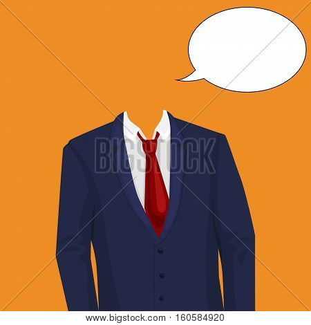 Businessman suit temlate without head. Design element for making collage. Colorful hand drawn cartoon vector illustration.