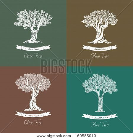 Set of different natural olive oil trees logo. Branches and berries on fruit plant. For nature plant at olive grove, ancient greece tree logo, market banner and olive oil bottle sticker or label