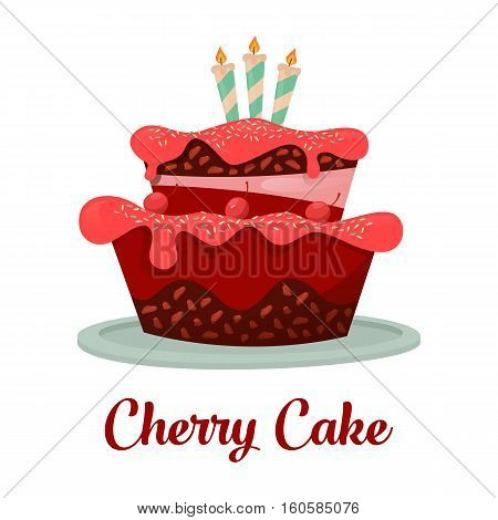 Dessert food or cherry cake with candles. Cake with cream and chocolate for birthday celebration, pastry for gift badge or bakery for confectionery shop logo or store banner, cartoon cherry cake logo