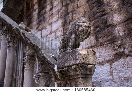 Figure of a lion on the streets of old town Sibenik (Croatia).