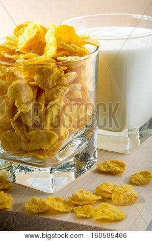 Cornflakes And Glass Of Milk For Cooking