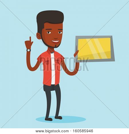 Student using a tablet computer. An african-american student holding tablet computer and pointing forefinger up. Concept of educational technology. Vector flat design illustration. Square layout.