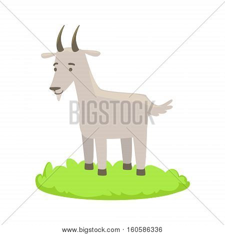Goat Farm Animal Cartoon Farm Related Element On Patch Of Green Grass. Colorful Vector Illustration With Farming And Rancho Associated Isolated Object.